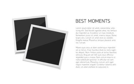 Verzamel momenten. Vector Stel polaroidfoto's neer neer met papieren band neer. Retro fotos op witte achtergrond.
