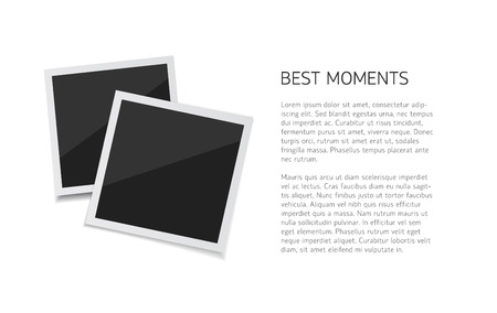 Collect moments. Vector Set polaroid photos sticked down with paper tape. Retro fotos on white background. Illustration