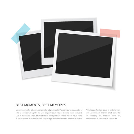 Enjoy your moments. Vector Set polaroid photos sticked down with paper tape. Retro fotos on white background.