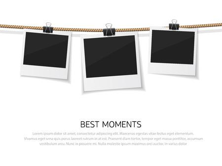 すべての瞬間をお楽しみください。一連のベクトル、ロープに絞首刑にポラロイド写真です。スレッドとレトロなスタイルの現実的なインスタント写真