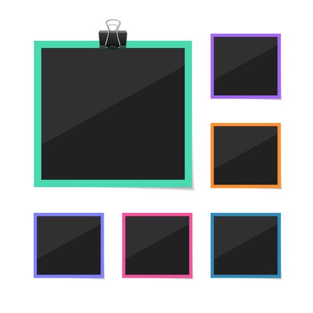 collect: Vector photo frames sticked with tape and hanged on paper clip. Retro fotos. Dark background. Illustration