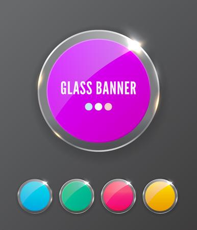 Glass banner, realistic vector illustration