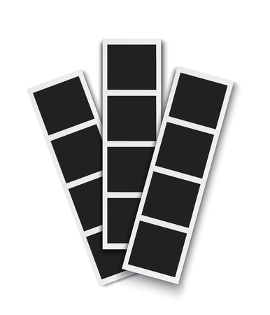 Strip of emty photos from instant photo booth isolated white background, realistic vector
