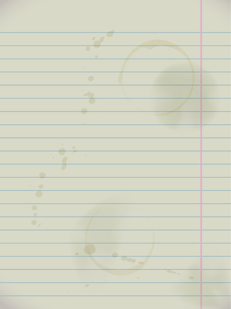Grunge dirty notebook paper lined page with stains, realistic vector illustration.