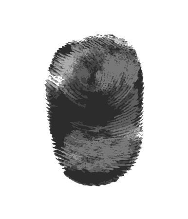 Fingerprint icon silhouette isolated on white background, vector