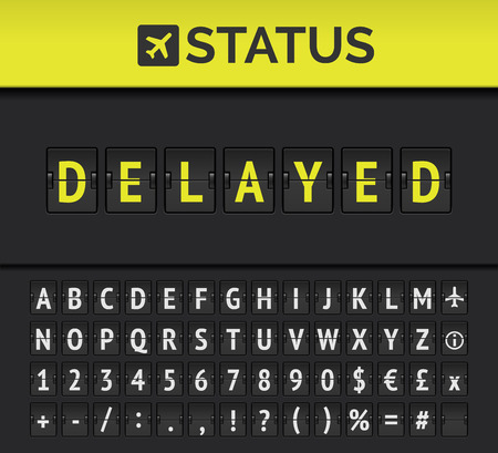 Airport analog flip board showing flight information of departure or arrival status Delayed with aircraft sign icon and alphabet. Vector