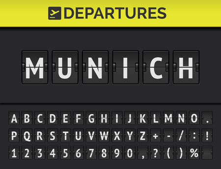 Analog airport flip board with flight info of departure destination in Europe Munich with aircraft sign icon and full font. Vector Ilustrace