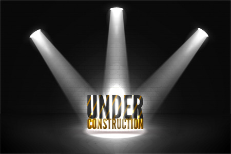 Under construction 404 error vector illustration.  Text in Bright beam of spotlights with glow. Coming soon