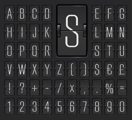 Black flip board light font  to display destination and timetable vector illustration. Ilustrace