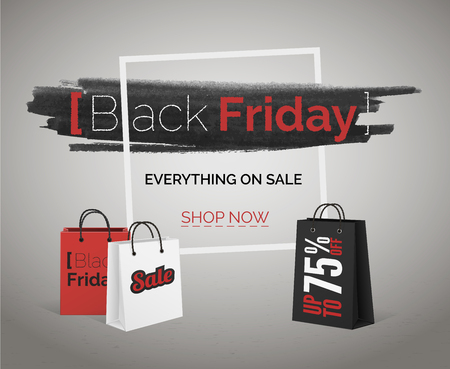 Black Friday sale vector banner for web or advertisement of season end discounts
