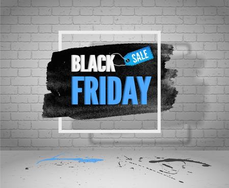 Bandiera di grunge di vettore di vendita venerdì nero per web o pubblicità. Acquerello in cornice con cartellino della spesa, schizzi blu e neri su pavimento di cemento e sfondo di mattoni bianchi