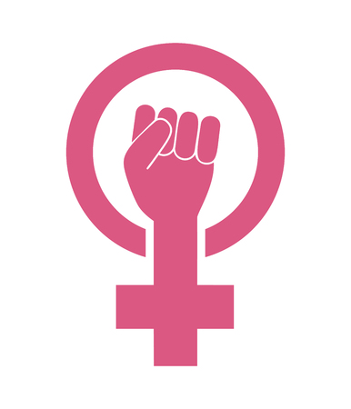 Female woman feminism protest hand icon vector 向量圖像