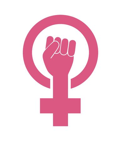 Icona della mano di protesta del femminismo femminile femminile Vettoriali
