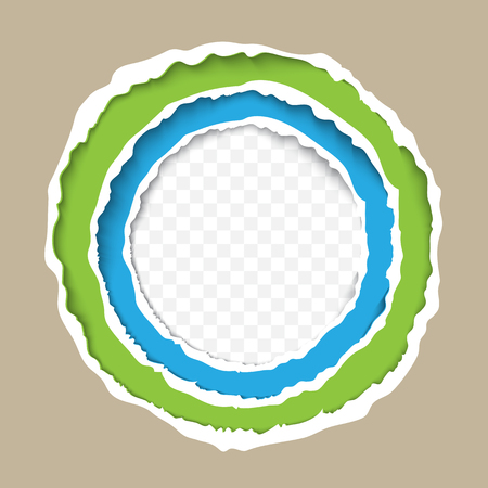 Torn paper circle frame vector template. Layered ripped paper edges for banner, print, flayer design