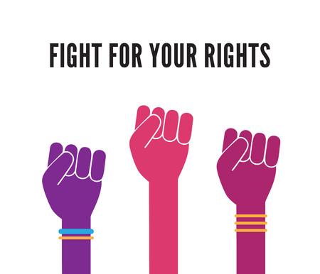Femme femme féminisme protester mains vecteur de fond