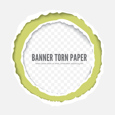 Torn paper round frame for design, book cover, flyer. Realistic vector illustration template. Ripped paper edges