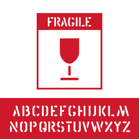 Packaging fragile symbol stamp with cargo font, for wooden, cardboard box. Means in need of protection from crashing. Vector illustration Illustration