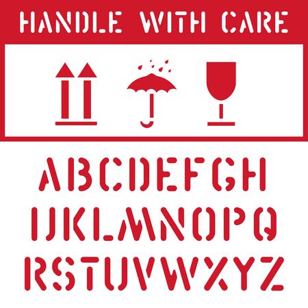Fragile, garder au sec, jeu d'icônes d'étiquette de boîte en carton de fret supérieur et police de timbre pour l'étiquette de transport logistique. L'emballage doit être manipulé avec soin, ne pas écraser, protéger de l'humidité, être de cette façon.