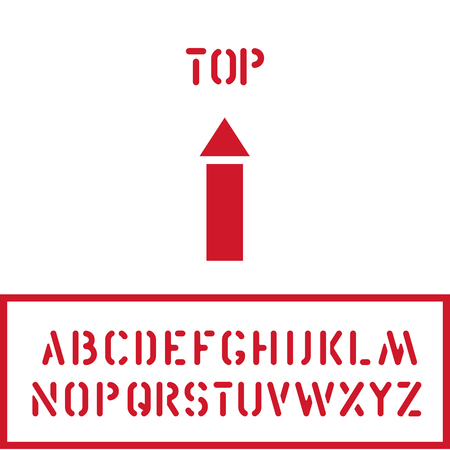 Cargo cardboard box TOP stamp with up arrow icon and crate font for logistics or packaging. Means this way up, don t turn over. Vector illustration Illustration