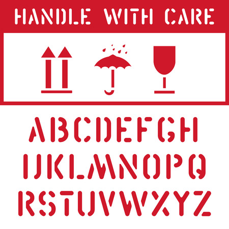 Fragile, keep dry, top cargo cardboard box label icon set and stamp font for logistics transport tag. Package need to handle with care, don t crush, protect from moisture, to be this way up. Illustration