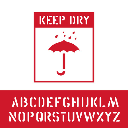 Packaging keep dry symbol stamp with cargo alphabet, for wooden, cardboard box. Means cargo in need of protection from moisture. Vector illustration Vecteurs