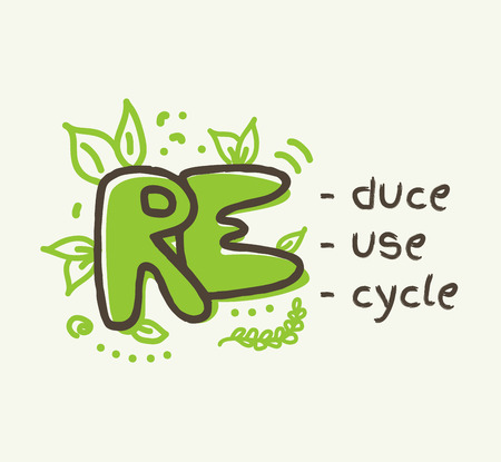 3R concept reduce, reuse , recycle lettering isolated
