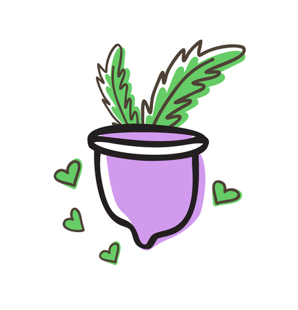 Zero waste menstrual cup with green leaves doodle vector illustration. Women health concept