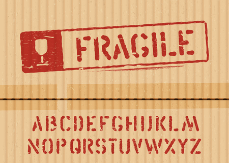 Fragile sign on cargo grunge cardboard box background with font for logistics or packaging. Vector illustration