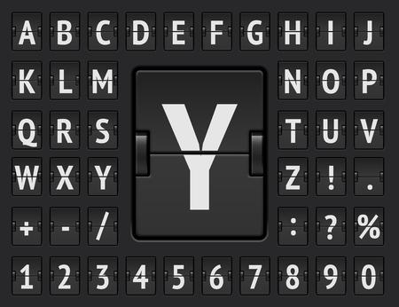 Terminal scoreboard regular font to display flight departure or arrival info vector illustration.