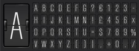 Vector Airport flip board mechanical light alphabet with numbers for flight departure or arrival information showing Ilustração