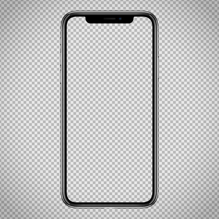new vector Smartphone template for web interface, app demo mockup. No frames and blank screen on transparent backround Vektorové ilustrace