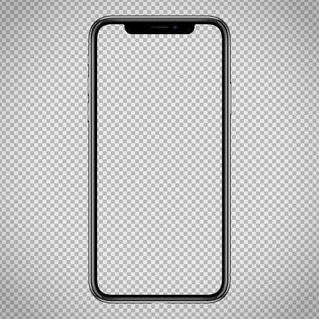 nuovo vettore Modello di smartphone per interfaccia web, mockup demo di app. Nessuna cornice e schermo vuoto su sfondo trasparente Vettoriali