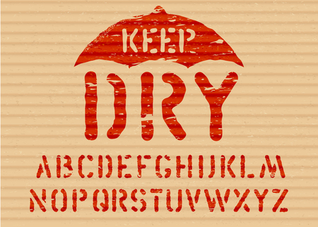 Keep Dry vector pictogram on cargo textured cardboard fragile box background with font for logistics or packaging. Grunge alphabet included Means handle with care, no moisture. Ilustrace