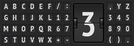 Terminal flip board font for flight destination and timetable vector illustration. Black Airport mechanical scoreboard alphabet with numbers to display departure or arrival information. Ilustrace