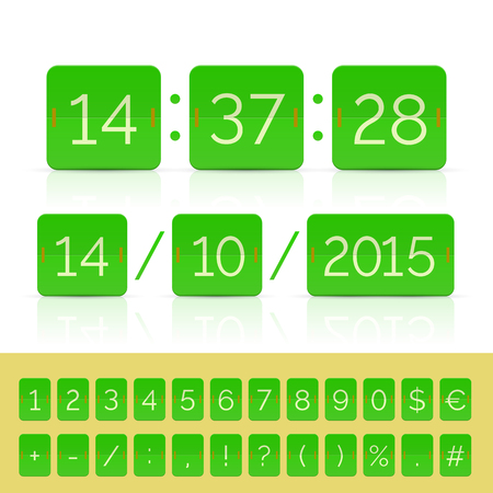 Green countdown timer and scoreboard numbers. Vector EPS10 illustration