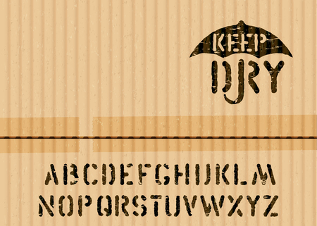Keep Dry art pictogram on cargo textured cardboard fragile box background and font for logistics or packaging. Means handle with care, no moisture. Grunge alphabet included. vector sign and alphabet