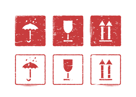 Fragile, this way up, handle with care, keep dry. Isolated logistics rubber inky stamp set for cargo. Vector grungy illustration with arrow, glass and umbrella. Usable as box signs
