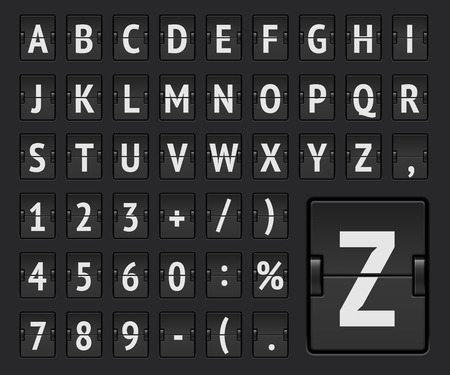 Airline flipboard regulier alfabet om vluchtbestemming of aankomstinformatie weer te geven. Vector illustratie.