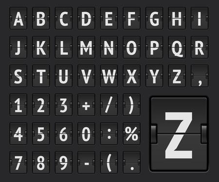 Alphabet régulier de la compagnie aérienne flip board pour afficher la destination du vol ou les informations d'arrivée. Illustration vectorielle.