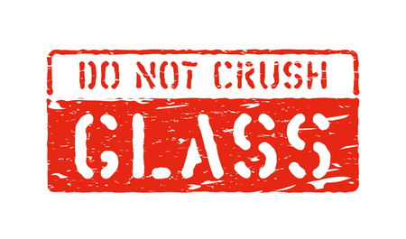 Fragile, do not crush handle with care, grungy box signs and symbols for cargo. Vector stamp imprint illustration