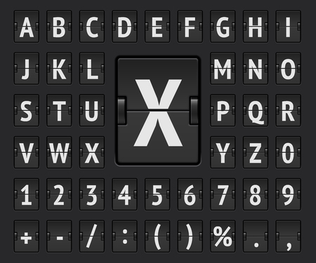 Black terminal mechanical scoreboard regular alphabet with numbers to display destination and departure vector Illustration