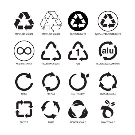 Set of recycle symbol vector illustration isolated on white background Vector Illustration
