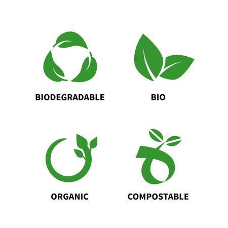 Biologisch abbaubares und kompostierbares Konzept reduziert die Wiederverwendung von Recycling-Vektorillustrationen Vektorgrafik