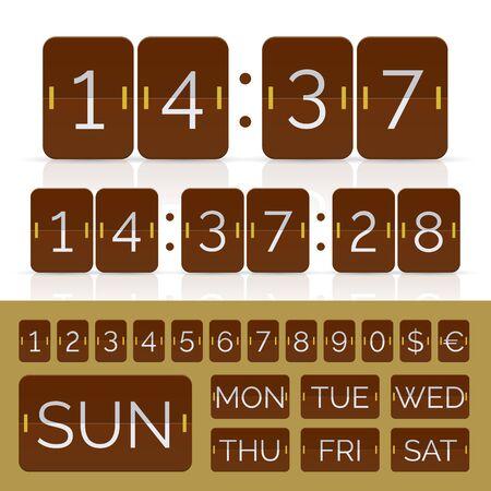 Brown countdown timer and week day flip calendar