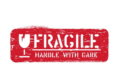 Vector fragile imprint, Handle with care cargo box sign for logistics isolated on white background Vector Illustration