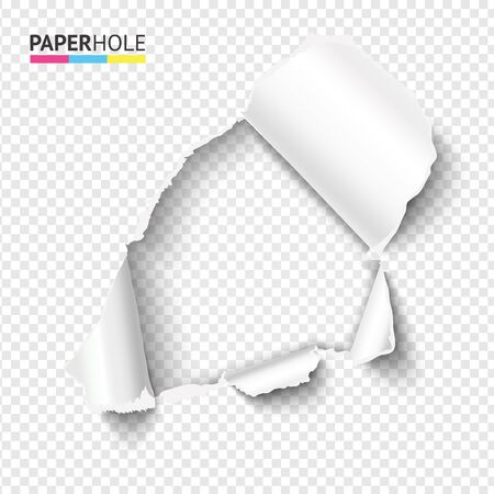 Half blank rip paper hole with ripped edge for sale banner to reveal your message. Vector illustration