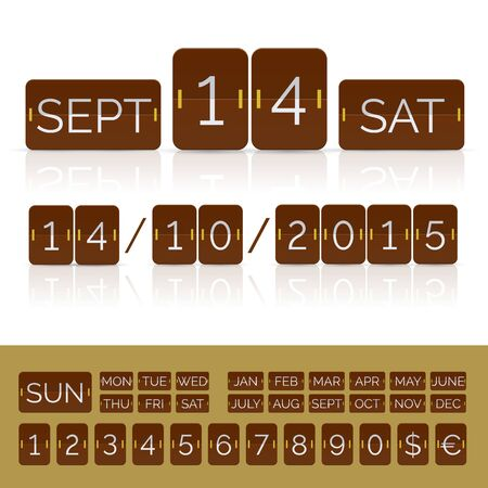 Brown flat calendar with analog flip timer