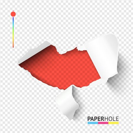 Red lips torn edge paper hole banner on transparent background for love, kiss, heart ect. vector concept