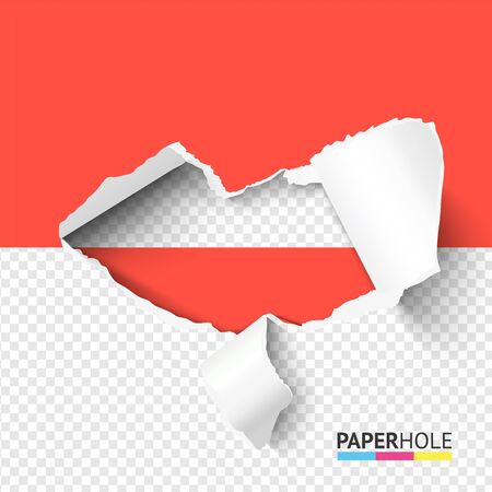 Colorful rip edge paper hole banner on transparent background for love, kiss, ect. vector concepts