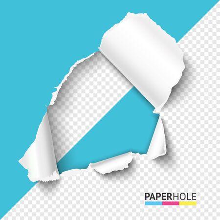 Foro mezzo vuoto in carta strappata su sfondo trasparente mezzo astratto. Foro di cartone con bordo strappato. Illustrazione vettoriale